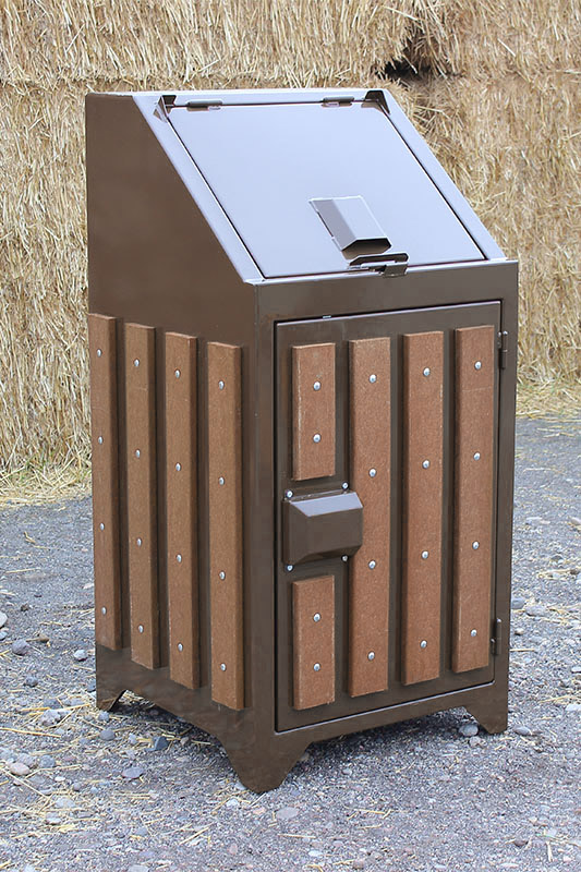 slatted bear proof trash can for national parks.